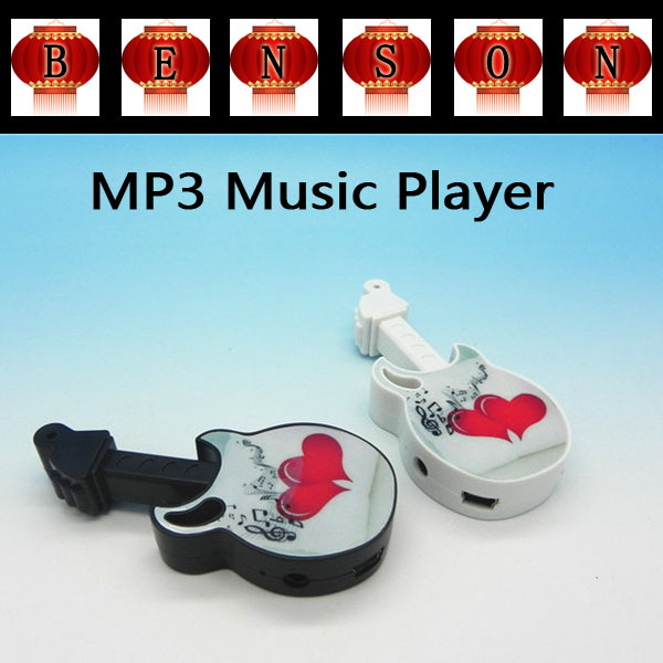 2015 New Mini MP3 Player Fashion style guitar Music MP3 Player No Screen+ Earphones + USB Cable + Crystal Box(China (Mainland))