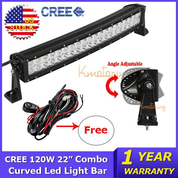 "CREE 22"" Curved LED Lighr Bar 120W Beam Combo ATV Led Work Light Driving Lamp 12V/24V Trucks SUV ATV 4WD 4X4 Offroad Light Bar(China (Mainland))"