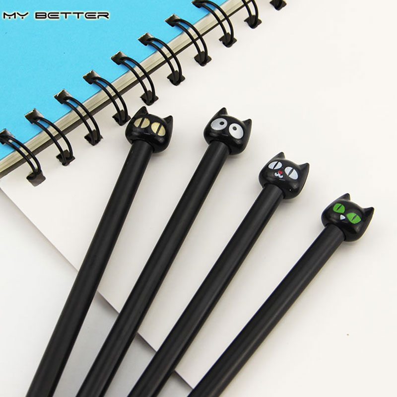 4X Cute Kawaii Black Cat Gel Pen Kawaii Korean Stationery Creative Gift School Supplies 0.5mm(China (Mainland))