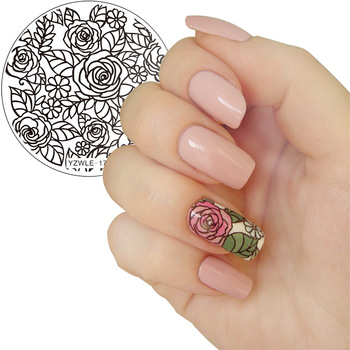 YZWLE 1 Pc Blooming Rose Flower Nail Art Stamping Template Image Plate YZWLE Nail Stamping Plates Nails Stencil Tools