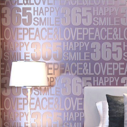 High quality stereo flocking wallpapers letter 365 digital for Living room 6 letters