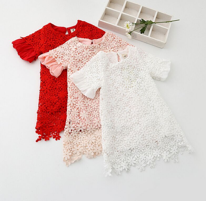 2016 Baby Kids Fairy Lace Puff Sleeve Floral Dresses, Princess Girls Fashion Boutique Dress 6 Pieces/lot, Wholesale(China (Mainland))