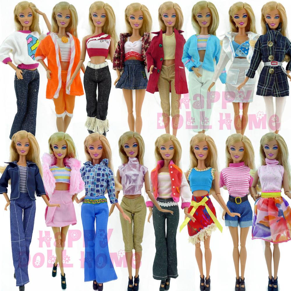 Randomly Pick Lot 20 Pcs = 10 Shoes +10 Sets Fashion Outfit Blouse Trousers Dress Shorts Pants Skirt Clothes For Barbie Doll WY