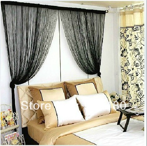 FREE SHIPPING! rod pocket string curtain H 2.8 m* W3.0 m window / Door decor curtains silk screens partitions(China (Mainland))