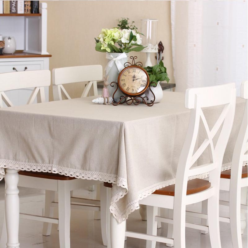 Plain natural qualities of cotton tablecloth tables universal dust cover coffee table towel tablecloth(China (Mainland))