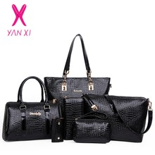 Buy YANXI New 6 1 Fashion luxury designer crocodile PU Tote+Shoulder Satchel/Messenger+Clutches composite bags brand handbags set for $26.86 in AliExpress store