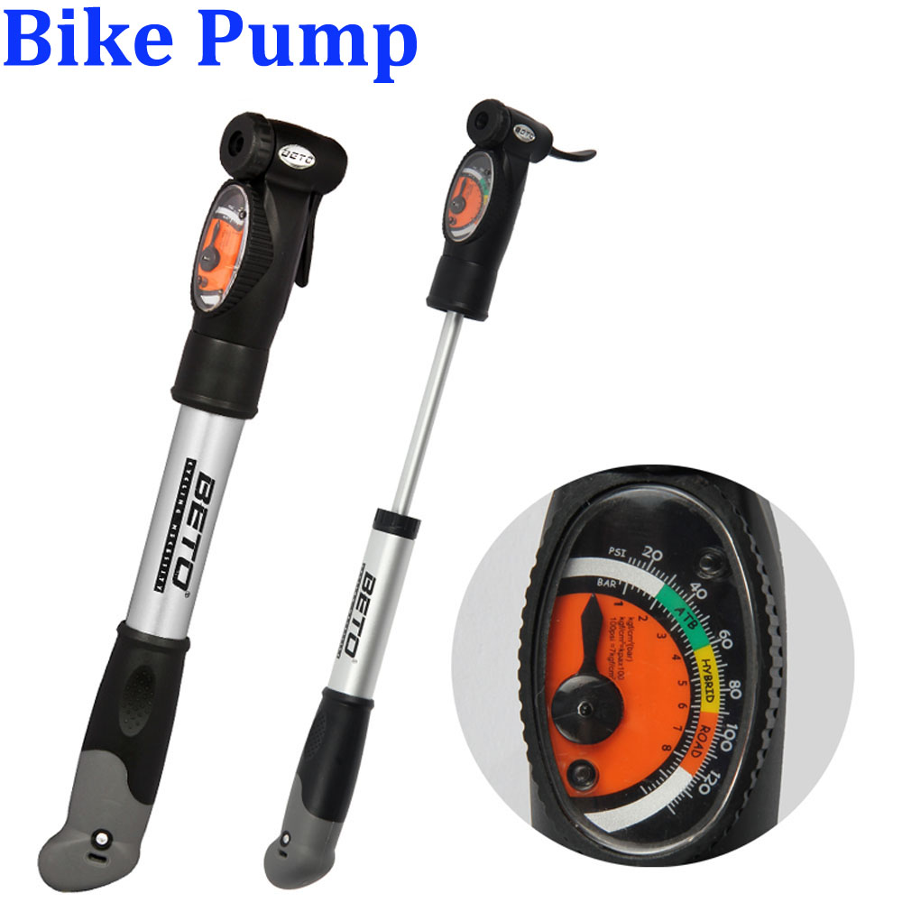 BETO Aluminium Alloy Mini Portable Cycling Bike Bicycle Tire Inflator Air Pump with Pressure Gauge Bracket CMP-008(China (Mainland))