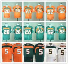 100% Stitiched,Miami Hurricanes Ed Reed,Ray Lewis Sean Taylor Andre Johnson(China (Mainland))