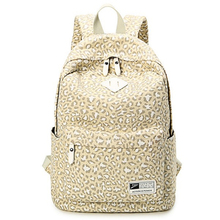 New 2016 Classic Leopard Backpack Rivet Fashion Leisure Travel Backpack Canvas High School Students D044(China (Mainland))