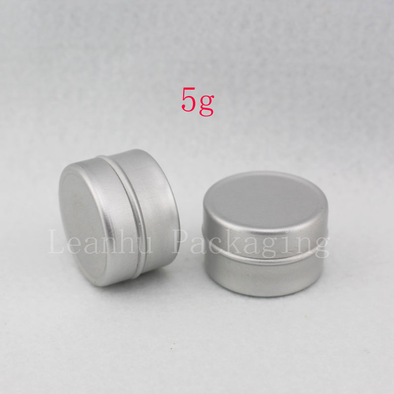 5g empty aluminum cream jar with slip on lids, metal container for lip gloss storage ,5g empty lipstick aluminum bottle tin(China (Mainland))