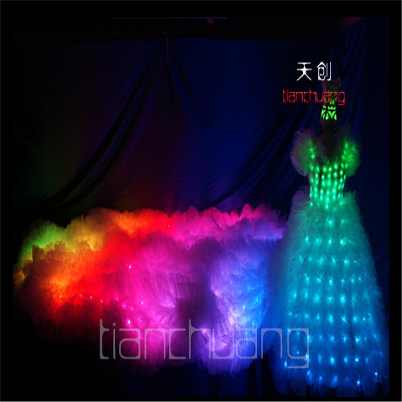 TC-23 Full color LED Costumes colorful light bar singer dance skirt luminous ballroom clothes program design Tail wedding dress(China (Mainland))