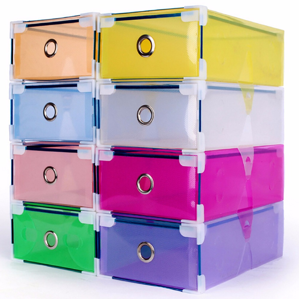 1PC Clear Plastic Shoe Boxes Foldable Plastic PP Container Organizer Shoe Box Holder Thick Drawer organizador(China (Mainland))