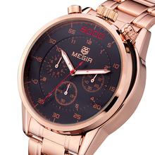 Acero inoxidable relojes de cuarzo resistente al agua multifuncional línea pequeña de trabajo, relojes de hombre 2015 Montre-bracelet