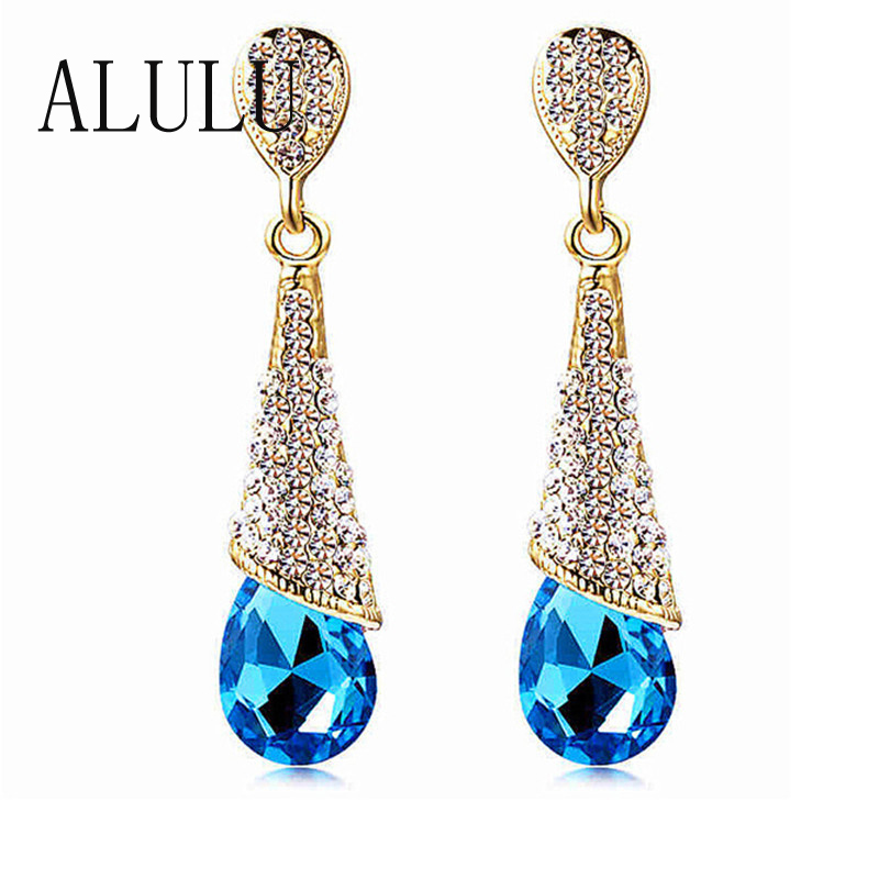 Fashion Brand Alloy 18K Gold Plated Statement Austria Blue Crystal Long Earrings Rhinestone Water Drop Elegant