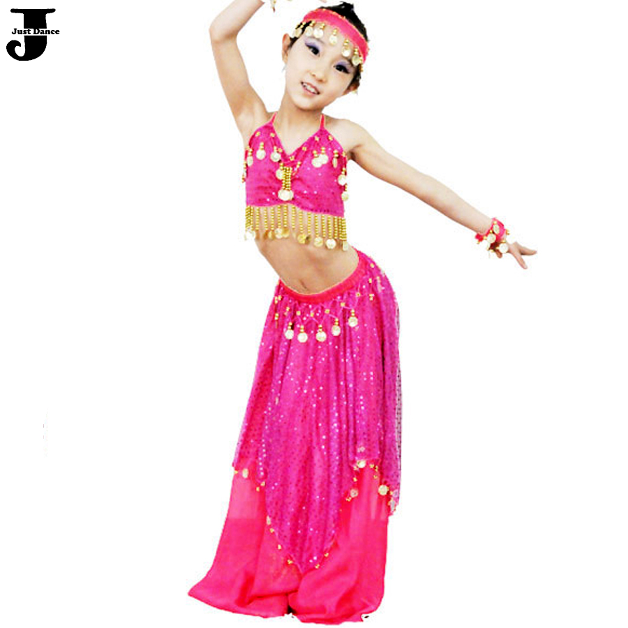 2016 New Girls Belly Dance Costume Set Red/Rose/Blue/Yellow/Pink Kids Indian Dance Costumes Dance Belly For Children DQ2032(China (Mainland))