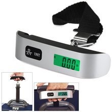 50kg /10g Pocket LED Digital Weighing Scale Electronic Portable Hanging Luggage Balance Weight Mini Scales Gram Thermometer(China (Mainland))