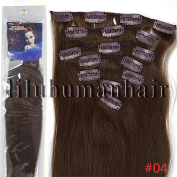 "Grade AAA+ 16""18""20""22"" Silky Straight weave beauty Clip In/On Hair Extension Straight 7pcs per set #04 medium brown"