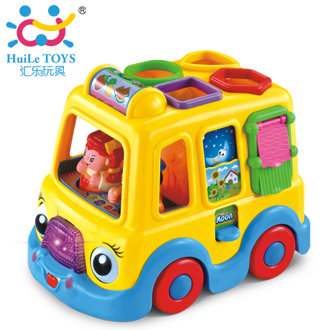 2014 New Musical toys Plastic Electronic toy with blocks Tourist bus Educational toys for children /kids Baby gift Free shipping(China (Mainland))