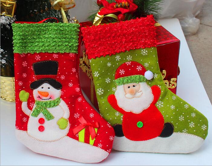 2015 New Style Christmas Stockings Socks Party Gift Bag Christmas Tree Decoration Supplies Santa Claus Hot Selling free shipping(China (Mainland))
