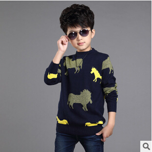Korean Explosion Kids Knitted Pullovers Animal Children's Pulsweetheart Sueter De Ninos Big size Knitwear Sweater For Girls E286(China (Mainland))
