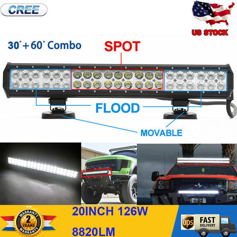 """20"""" 126W CREE LED Work Light Bar Alloy Spot Flood Combo Diving Offroad 4WD Boat(China (Mainland))"""