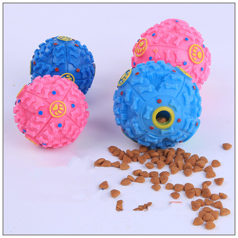 New Pet Dog Cat Food Dispenser Toy Ball Squeaky Giggle Quack Sound Training Toy Chew(China (Mainland))