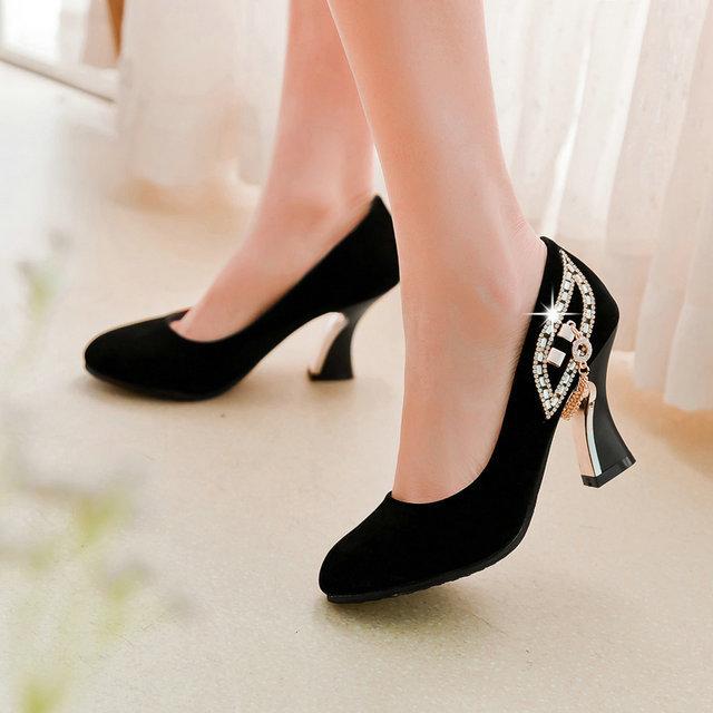 2016 женская обувь на высоком каблуке мода Slip On Asakuchi твердого весна осень ...