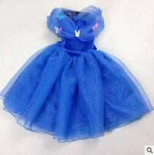 2016 Fashion Spring / summer Baby Children kids clothing blue 1pcs Queen Cinderella dress Princess(China (Mainland))