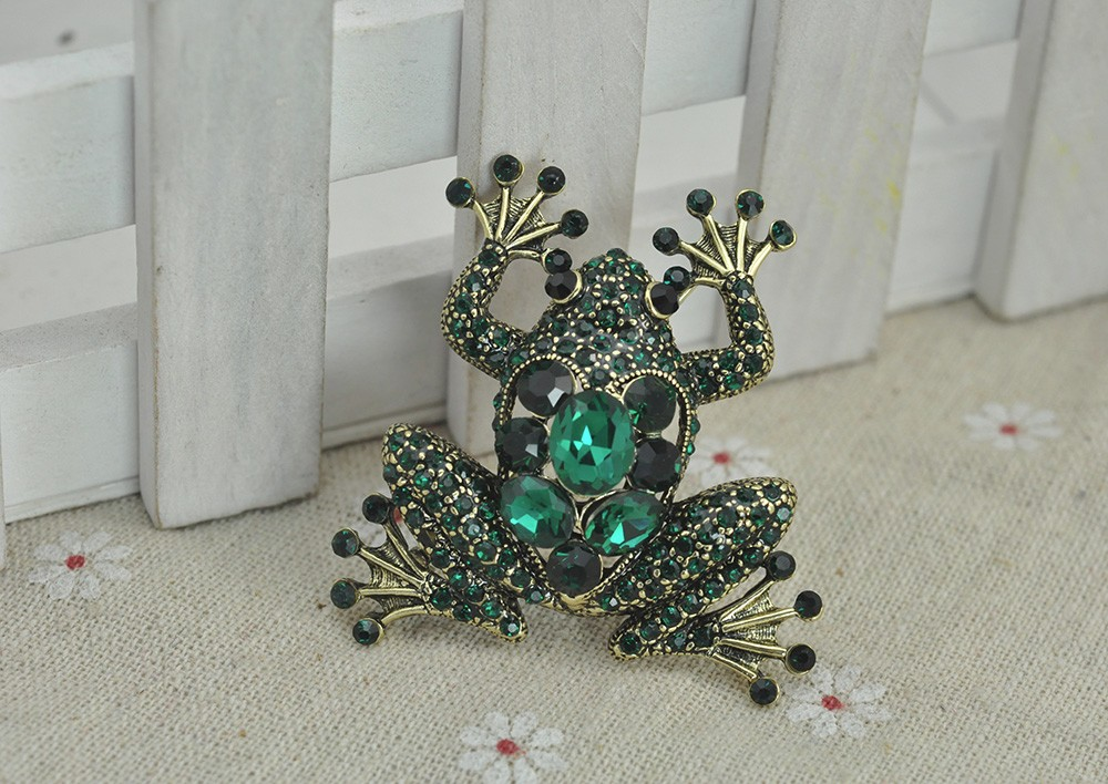 Green Crystal Rhinestone Frog Brooch Pin Bufonid Toad Vintage Fashion Jewelry Animal Accessory 2016 Factory Sale