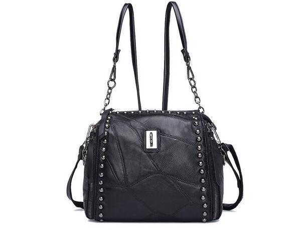 Sheepskin women's messenger bag one shoulder cross-body rivet bucket bag genuine leather black color factory price()