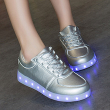 Newest Colorful glowing shoes unisex shoes men women fashion LED light casual shoes breathable stansmith couples shoes