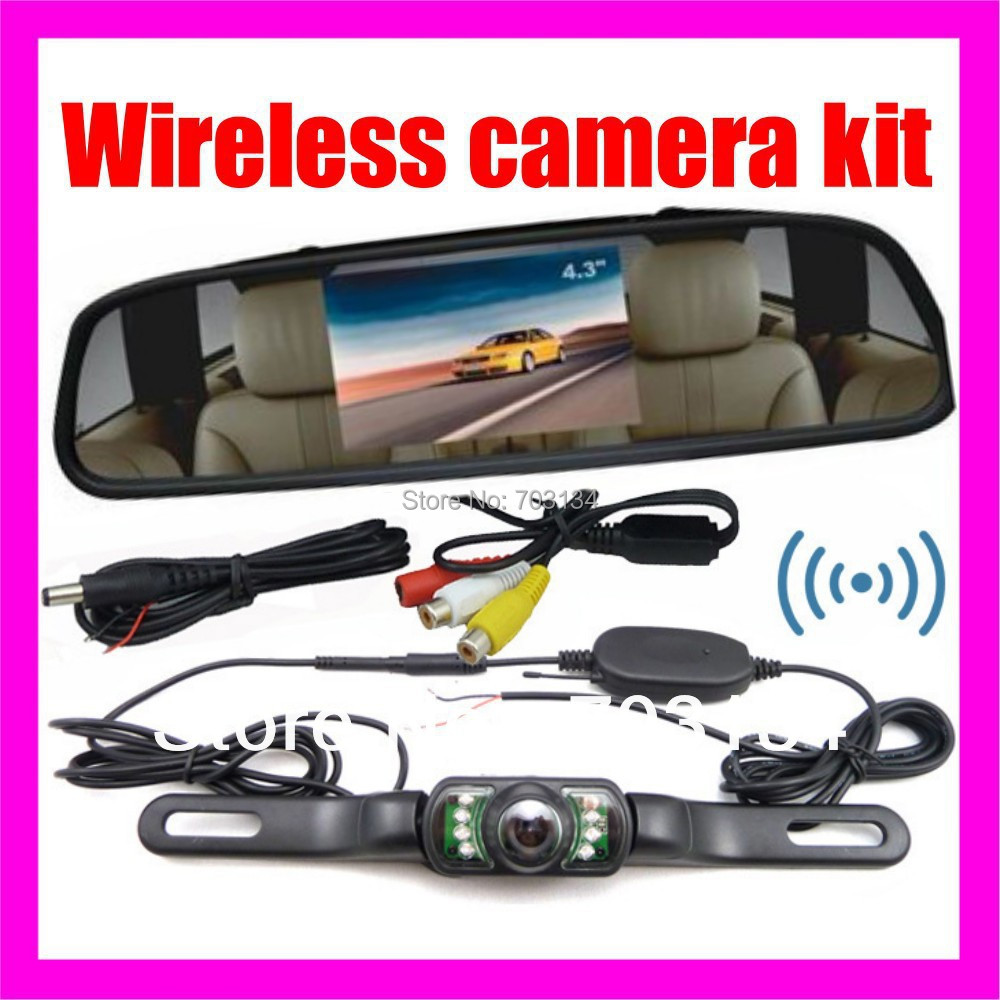 "2.4G Wireless Car Rear View Back up Camera+ 4.3"" Mirror monitor+ parking assistance Wireless Rearview Reverse camera system(China (Mainland))"