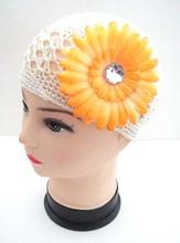 20pcs knitting hats cotton kufi caps with peony Gerbera flower hair clip Classic Knit Handmade hats crochet beanie MZ9110(China (Mainland))