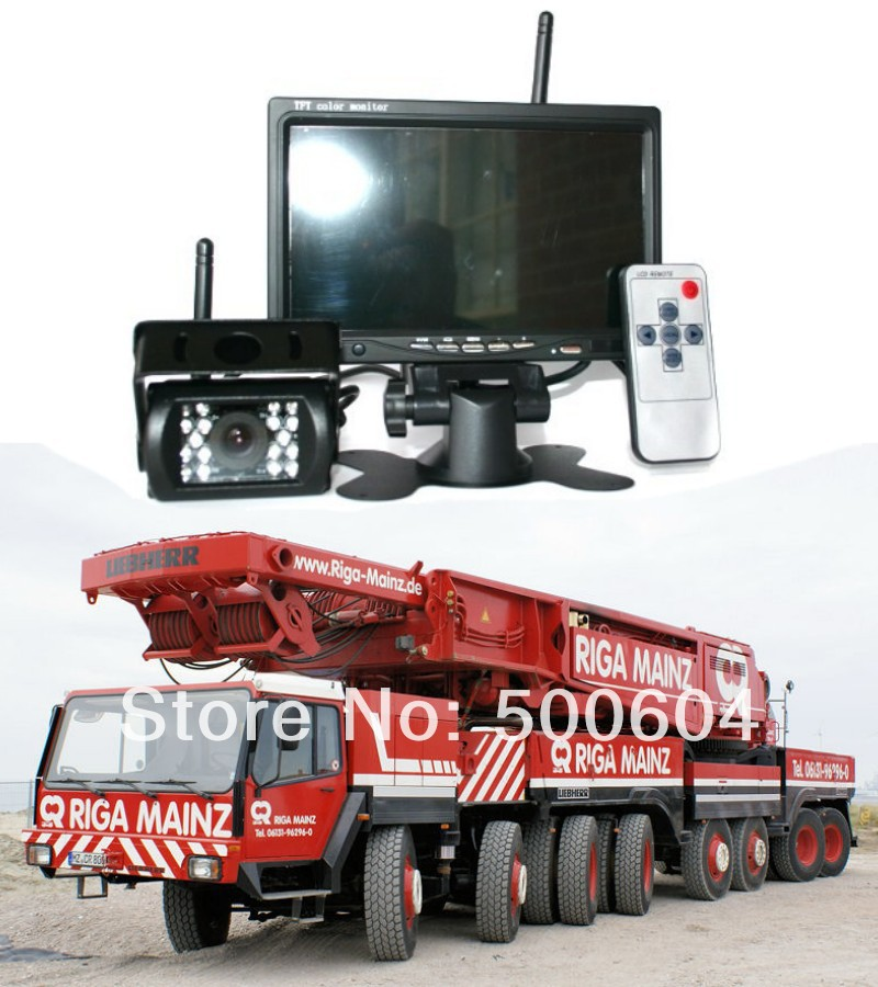 "Wireless Reverse camera 7"" tft Monitor Car Rear view Video Parking kit Backup assistance system 12V-24V RV Caravan Crane Truck(Hong Kong)"