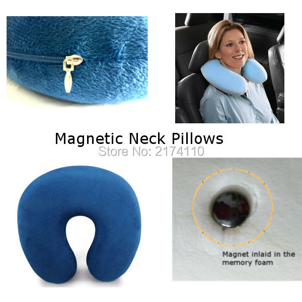 Magnetic Therapy U Shaped Travel Pillow Pure Color Rest Pillow Cushion Neck Pillow for Car Flight 1pc Free Ship(China (Mainland))