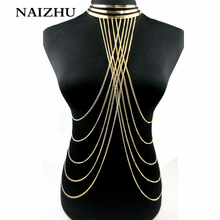 Buy Body chain Necklace Women Punk style Collar Choker necklace Multilayers tassel Hollow body Necklace women for $4.29 in AliExpress store