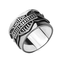 Halle Men black steel ring, Harley rings(China (Mainland))