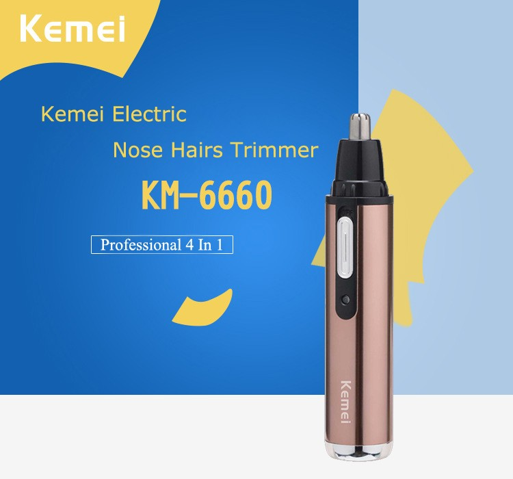 Kemei 4 In 1 Electric Nose Hair Trimer Shaver Blade Sideburns Razor Eyebrows Trimmer for Nose Cutter Personal Nose Hair Clipper