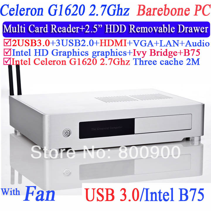 Barebone PC Computers Mini HTPC with HDMI VGA LVDS Intel dual core Celeron G1620 2.7GHz CPU IVB Bridge Mirco Mini Terminal PC<br>