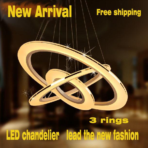 Modern Pendant led Lamp 3 Circles 100% Guarantee different size position circusy acrylic lampsHot sale Diamond Ring(China (Mainland))