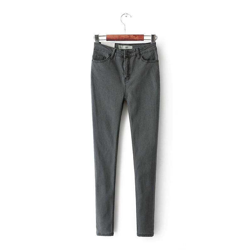 Женщины винтаж топ джейми серый тонкий тонкий стрейч высокой талией джинсы карандаш брюки yy621