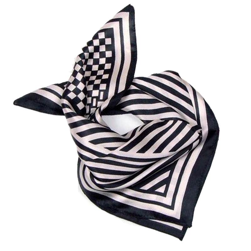 LING/ Retro Black White Stripes Printed Silk Scarf ,Square Foulard Female Fashion Head Scarf,SatinTwilly Ladies Scarves#33107(China (Mainland))