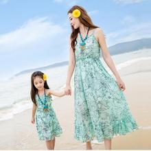 summer 2016 mother daughter dresses family look girl and mother maxi dresses long green flower girl dress women chiffon dress