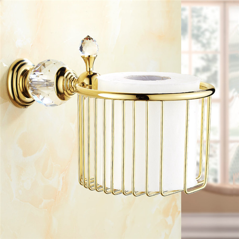 Newly Solid Brass Golden Crystal Toilet Paper Holder Roll Tissue Basket Paper Rack Shelf Wall Mount Bathroom Accessories 4556(China (Mainland))