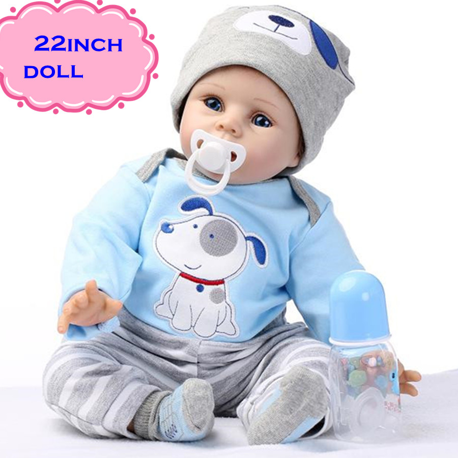 "The Latest 22"" 55cm Silicone Reborn Baby Dolls Best Gift 100% Safe And Lifelike Simulation Baby Dolls Newborn For Kid Brinquedos(China (Mainland))"