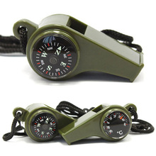 Three functions Thermometer Compass Lifesaving outdoor whistle Multifunction necessary survival whistle Emergency Rescue(China (Mainland))