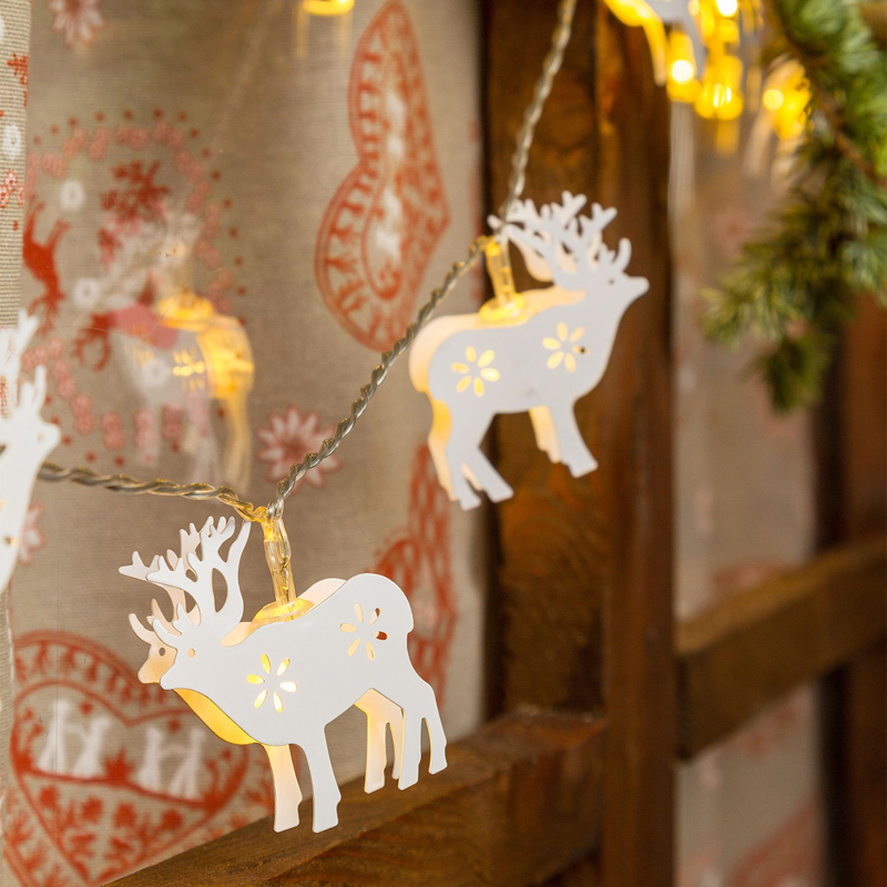 Battery Operated Warm White 10 LED Metal White Elk Fairy Lights Decoration Light for Festival Halloween Christmas Party Wedding(China (Mainland))