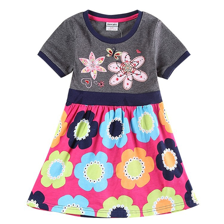 Kids Girl Dress for Baby Clothing Girl Summer Style Fashion Floral Girls Short Sleeves Cotton Casual Dress For Children Girls(China (Mainland))