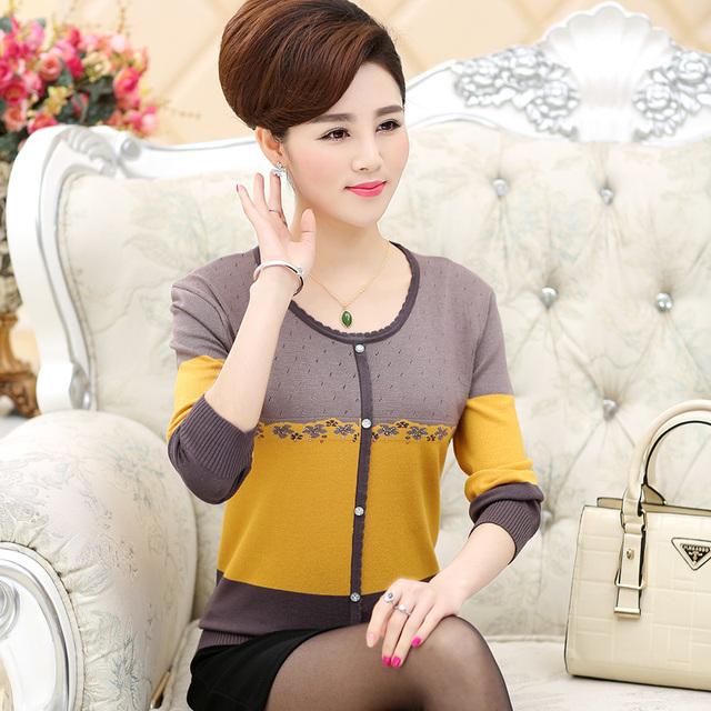 Новая мода весна Осень Среднего возраста женщин тонкий свитер мать трикотажные тонкий ...