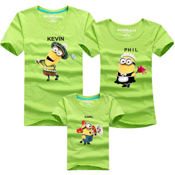 5 Colors Minion Despicable Me T shirt Family Matching Outfits Mom Dad Daughter Son Summer Clothing Female Male Children T shirts